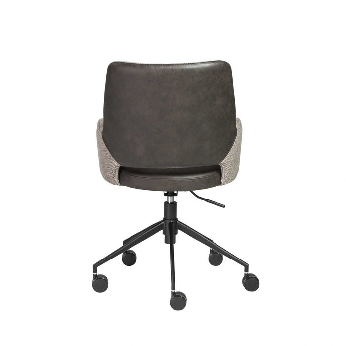 "HomeRoots Office 21.26"" X 25.60"" X 37.21"" Tilt Office Chair in Light Gray Fabric and Dark Gray Leatherette with Black Base"