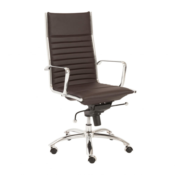 "HomeRoots Office 26.38"" X 25.60"" X 45.08"" High Back Office Chair in Brown with Chromed Steel Base"