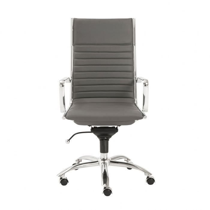 "HomeRoots Office 26.38"" X 25.60"" X 45.08"" High Back Office Chair in Gray with Chromed Steel Base"