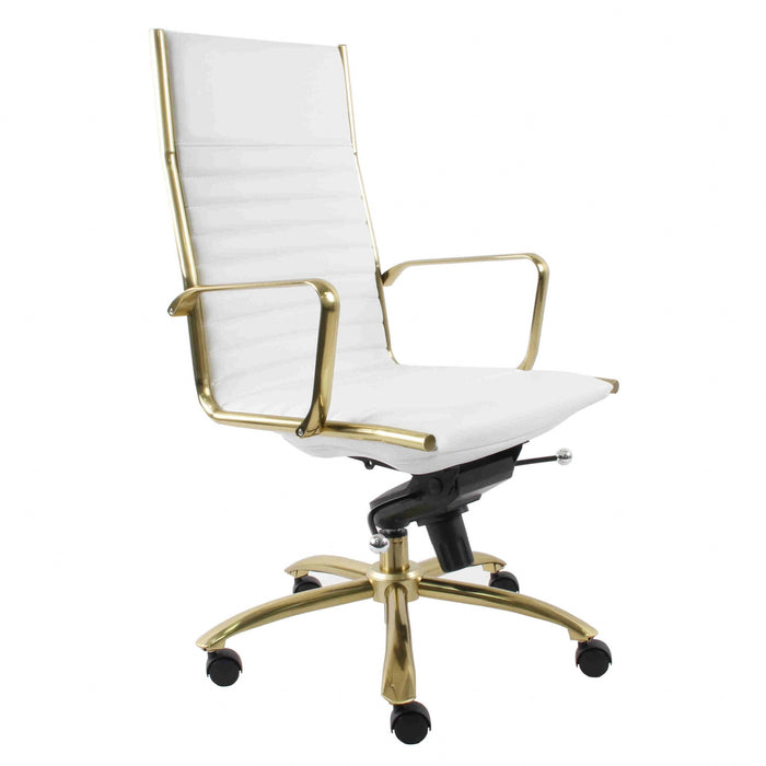 "HomeRoots Office 26.38"" X 25.60"" X 44.49"" High Back Office Chair in White with Brushed Gold Base"