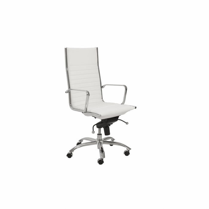 "HomeRoots Office 26.38"" X 25.60"" X 45.08"" High Back Office Chair in White with Chromed Steel Base"