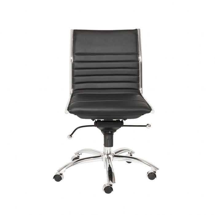 "HomeRoots Office 26.38"" X 25.99"" X 38.19"" Low Back Office Chair without Armrests in Black with Chromed Steel Base"