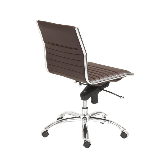"HomeRoots Office 26.38"" X 25.99"" X 38.19"" Low Back Office Chair without Armrests in Brown with Chromed Steel Base"