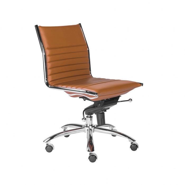 "HomeRoots Office 26.38"" X 25.99"" X 38.19"" Armless Low Back Office Chair in Cognac with Chrome Base"