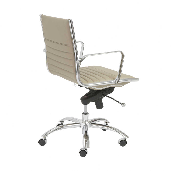 "HomeRoots Office 27.01"" X 25.04"" X 38"" Low Back Office Chair in Taupe with Chromed Steel Base"