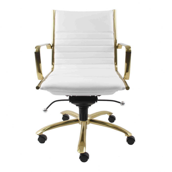 "HomeRoots Office 26.38"" X 25.40"" X 37.80"" Low Back Office Chair in White with Brushed Gold Base"
