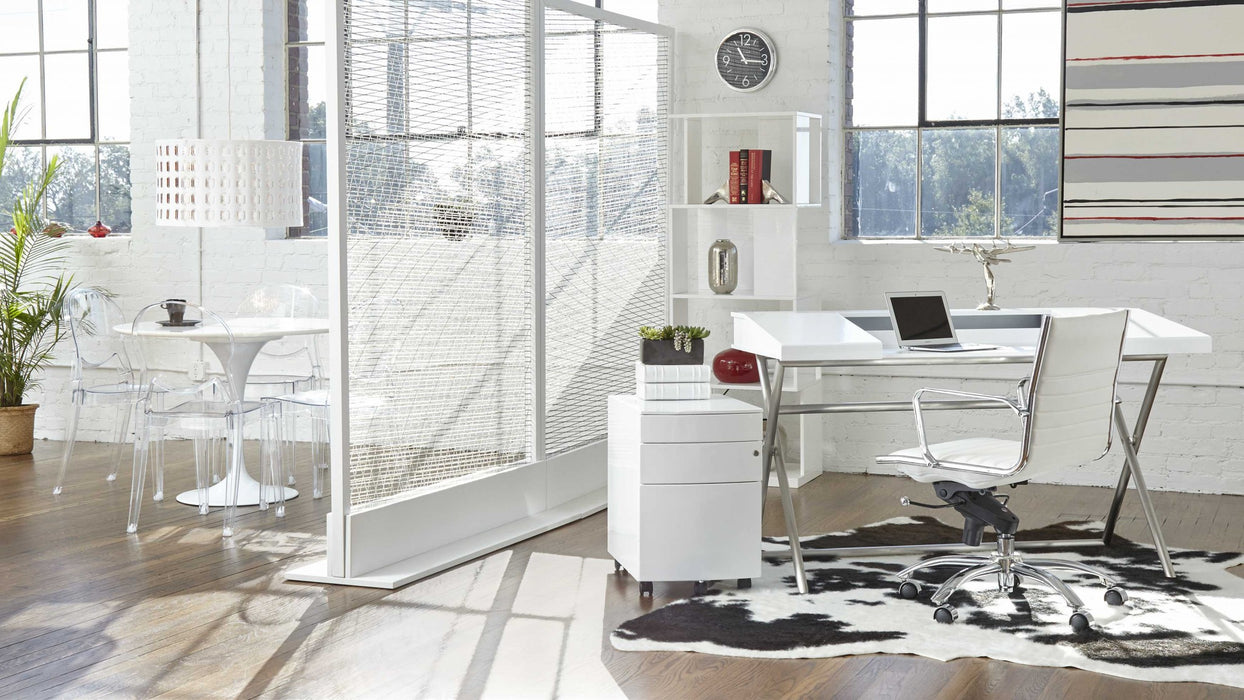 "HomeRoots Office 27.01"" X 25.04"" X 38"" Low Back Office Chair in White with Chromed Steel Base"