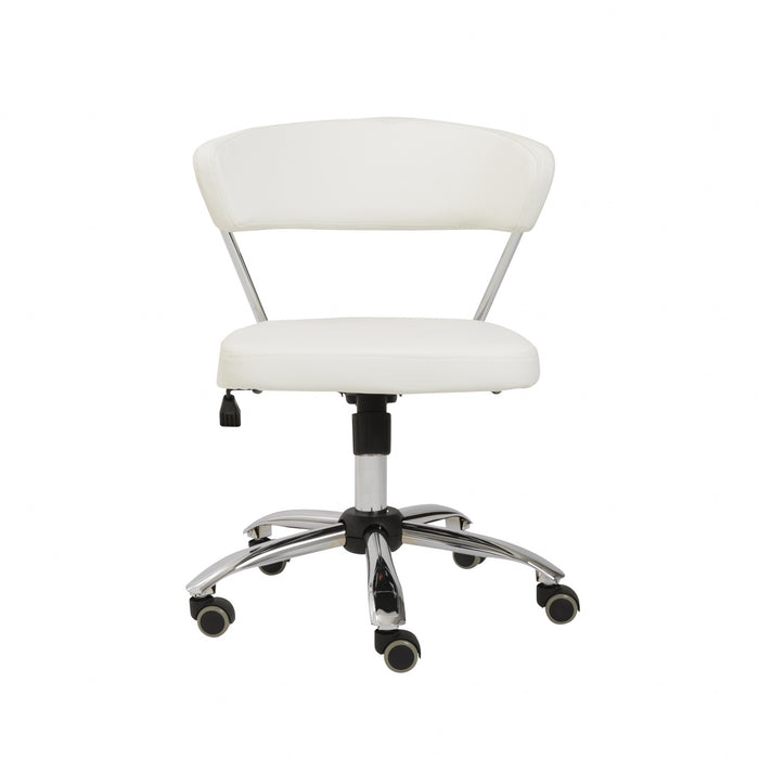 "HomeRoots Office 23.63"" X 23.63"" X 31.50"" Office Chair in White with Chromed Steel Base"