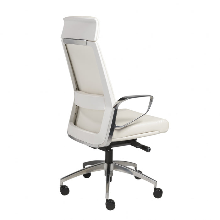 "HomeRoots Office 22.45"" X 25.99"" X 48.43"" High Back Office Chair in White with Polished Aluminum Base"