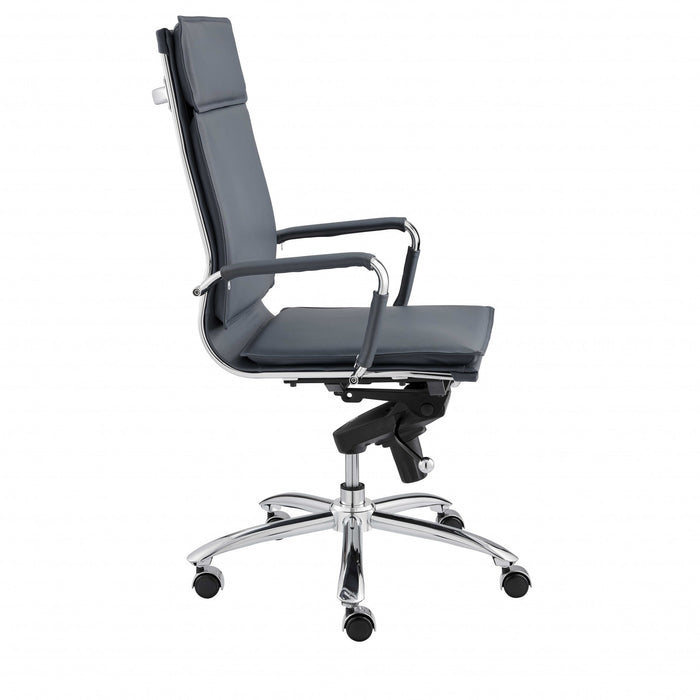 "HomeRoots Office 26.38"" X 27.56"" X 45.87"" High Back Office Chair in Blue with Chromed Steel Base"