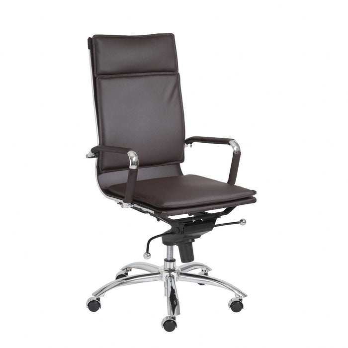 "HomeRoots Office 26.38"" X 27.56"" X 45.87"" High Back Office Chair in Brown with Chromed Steel Base"