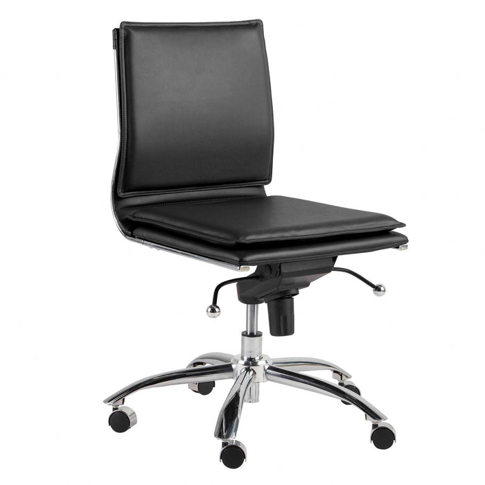 "HomeRoots Office 26.38"" X 25.99"" X 37.01"" Low Back Armless Office Chair in Black with Chromed Steel Base"