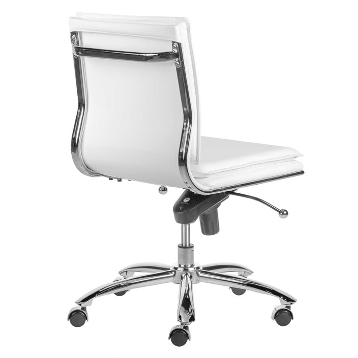 "HomeRoots Office 26.38"" X 25.99"" X 37.01"" Low Back Armless Office Chair in White with Chromed Steel Base"