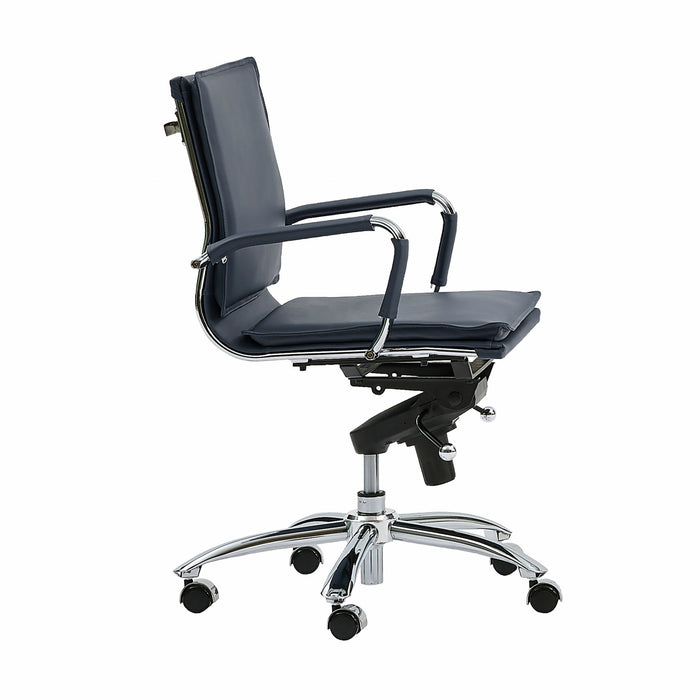 "HomeRoots Office 25.99"" X 26.78"" X 38.39"" Low Back Office Chair in Blue with Chromed Steel Base"