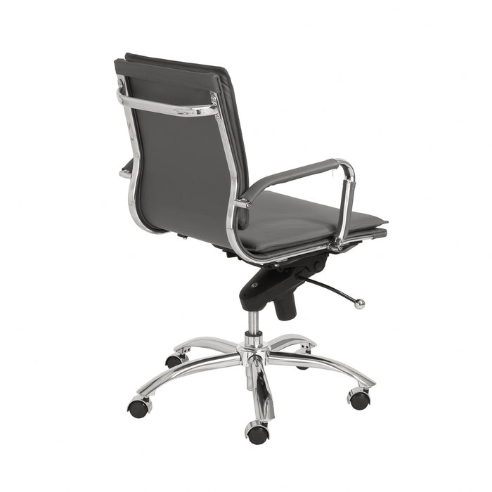 "HomeRoots Office 25.99"" X 26.78"" X 38.39"" Low Back Office Chair in Gray with Chromed Steel Base"