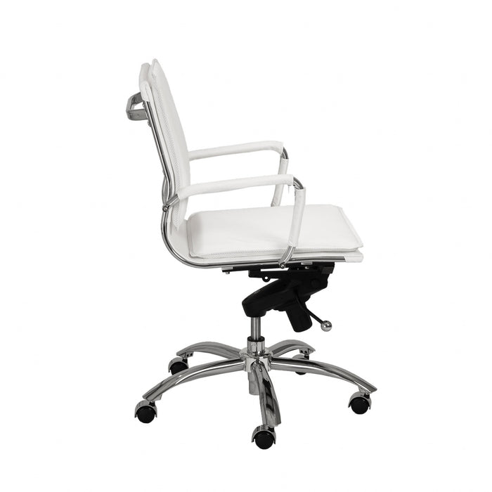 "HomeRoots Office 25.99"" X 26.78"" X 38.39"" Low Back Office Chair in White with Chromed Steel Base"