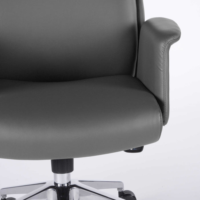 "HomeRoots Office 28.75"" X 24.61"" X 51.19"" High Back Office Chair in Gray and Polished Aluminum"