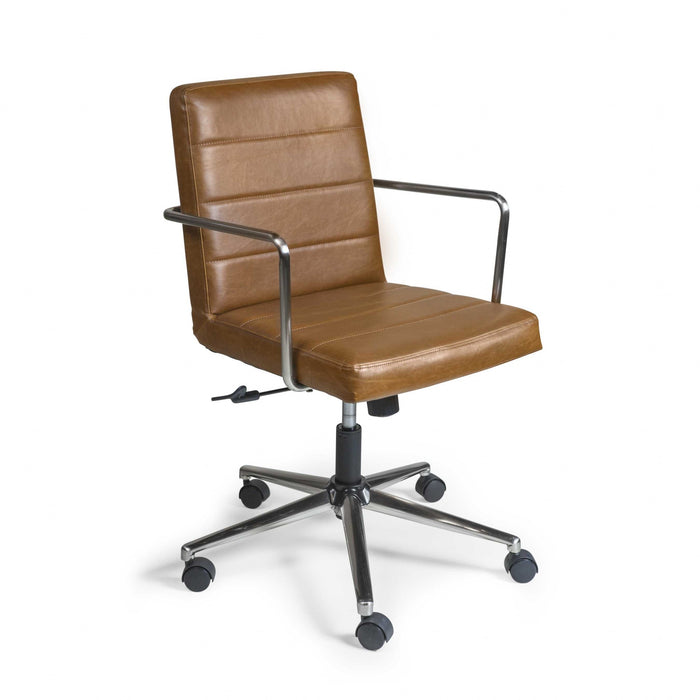 "HomeRoots Office 25.20"" X 25.20"" X 35.83"" Low Back Office Chair in Brown with Brushed Nickel Base"