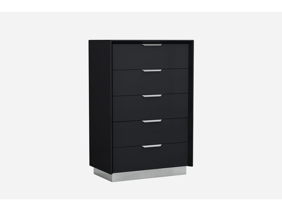 "HomeRoots Office 33"" X 19"" X 49"" Black Stainless Steel Drawer Chest"