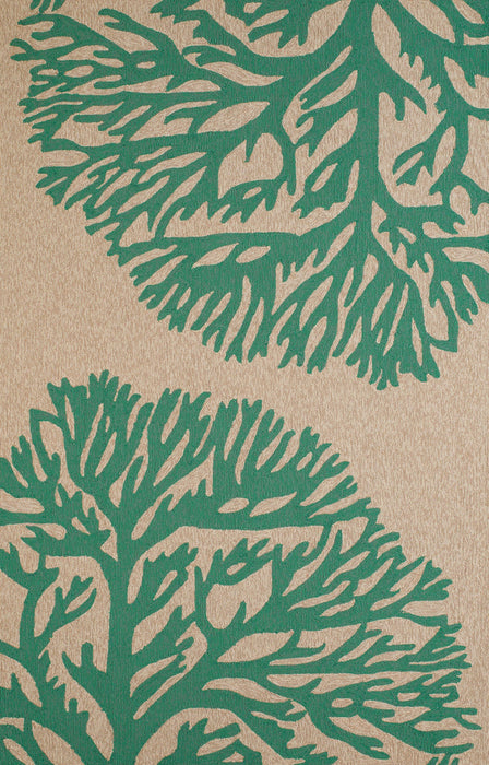 "HomeRoots 23"" x 36"" x 0.3"" Seagreen Polypropylene Accent Rug"