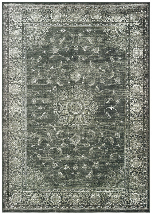 "HomeRoots 23"" x 39"" x 0.13"" Smoke Viscose Accent Rug"