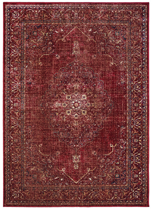 "HomeRoots 31"" x 98"" x 0.13"" Red Viscose Runner Rug"