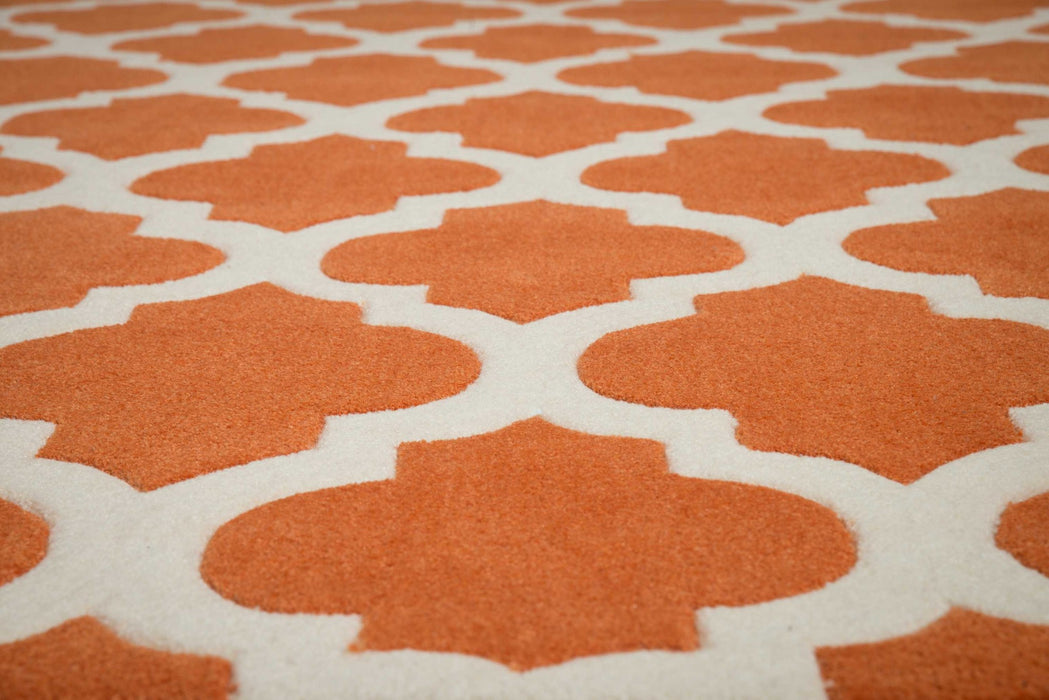 "HomeRoots 22"" x 26"" x 0.47"" Terracotta Polyester Accent Rug"