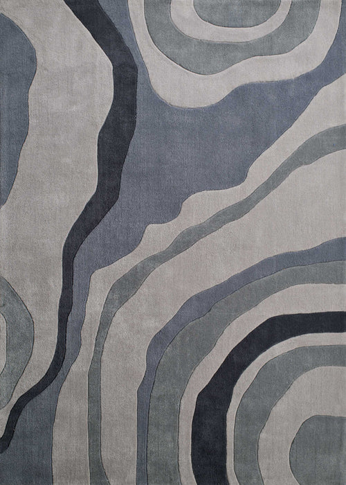 "HomeRoots 23"" x 86"" x 0.46"" Grey Polyester Runner Rug"