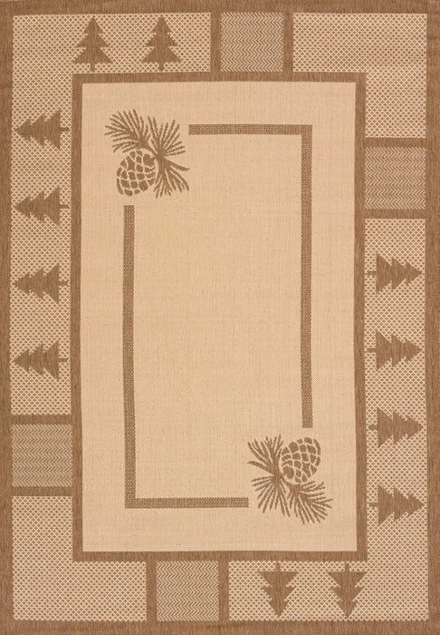 "HomeRoots 31"" x 50"" x 0.2"" Brown Polypropylene/Olefin Area Rug"