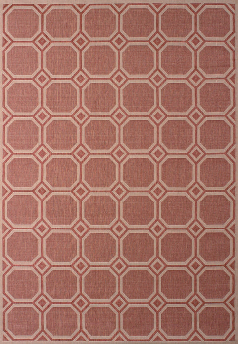 "HomeRoots 63"" x 90"" Terracotta Polypropylene/Olefin Accent Rug"