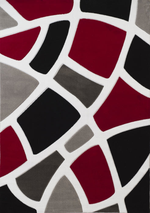 "HomeRoots 22"" x 36"" x 0.43"" Red Polypropylene Accent Rug"