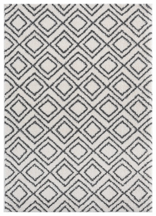 "HomeRoots 39"" x 59"" x 1.2"" White Microfiber Polyester Mat Rug"