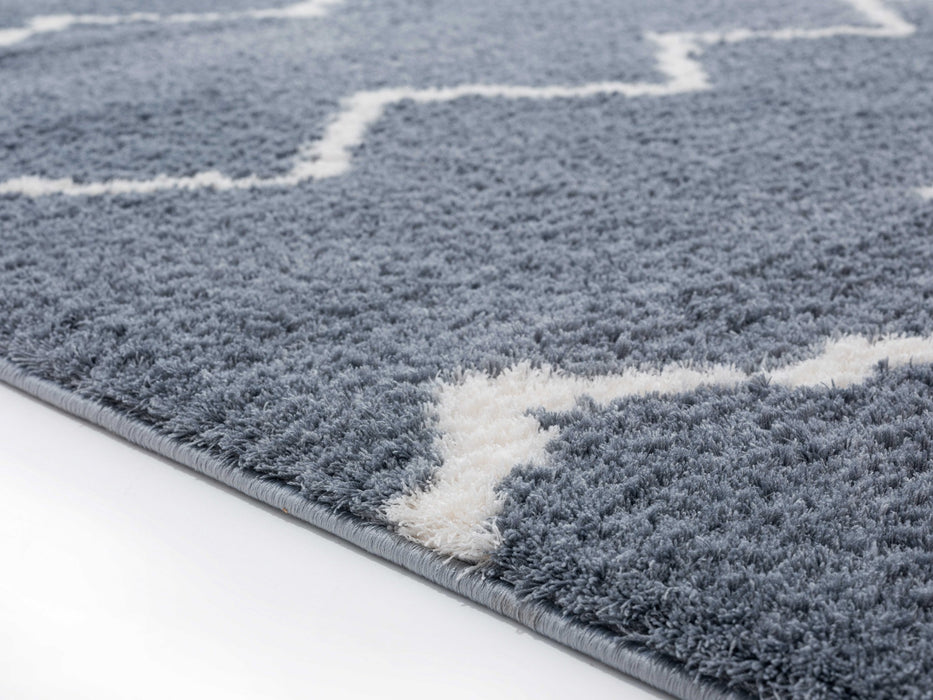"HomeRoots 23"" x 36"" x 1.2"" Blue/Grey Microfiber Polyester Accent Rug"
