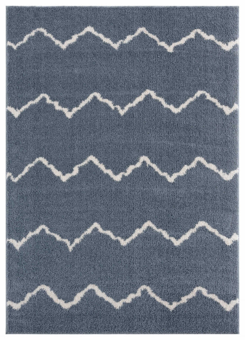 "HomeRoots 39"" x 59"" x 1.2"" Blue/Grey Microfiber Polyester Mat Rug"