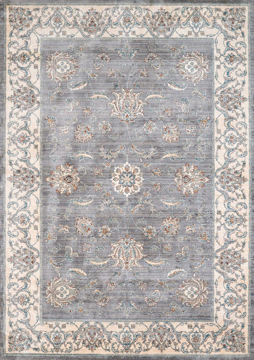 "HomeRoots 47"" x 66"" x 0.39"" Blue/Grey Polyester Accent Rug"