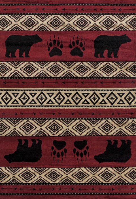 "HomeRoots 23"" x 86"" x 0.4"" Red Polypropylene Runner Rug"