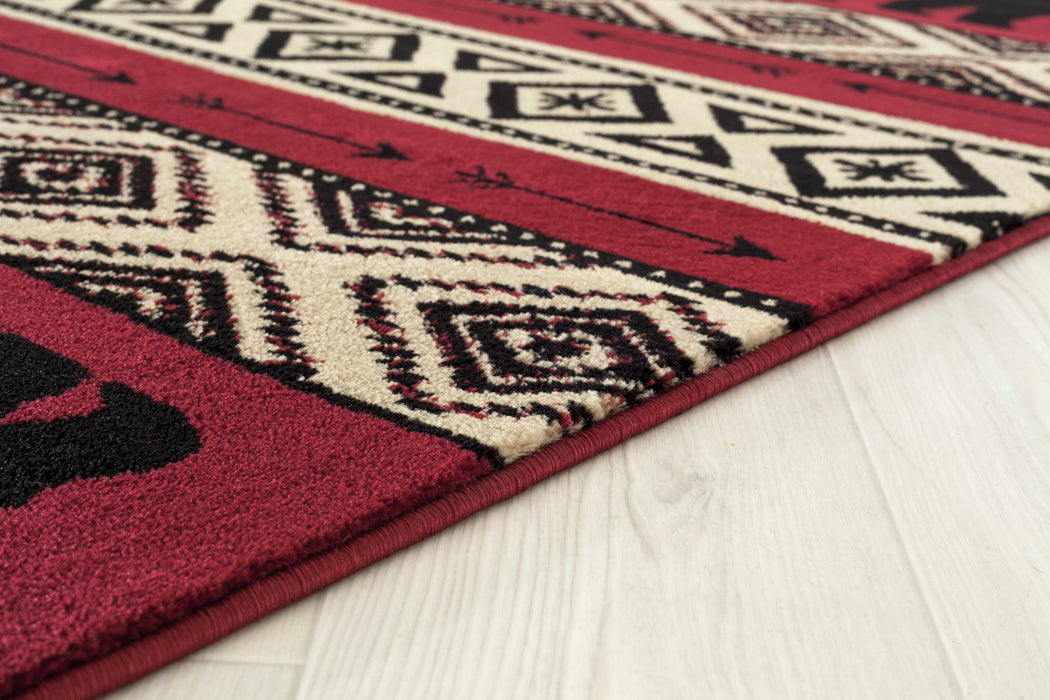 "HomeRoots 63"" x 86"" x 0.4"" Red Polypropylene Area Rug"