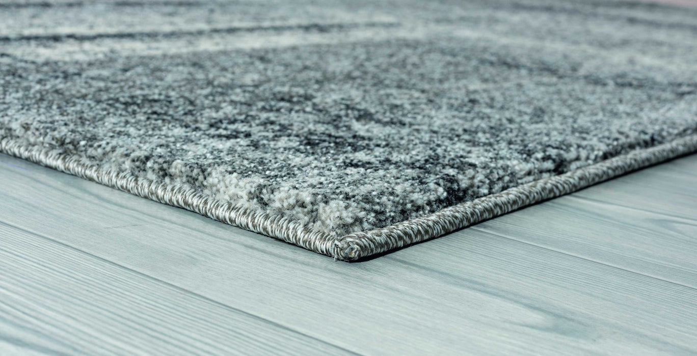 "HomeRoots 22"" x 36"" x 0.5"" Grey Polypropylene Accent Rug"