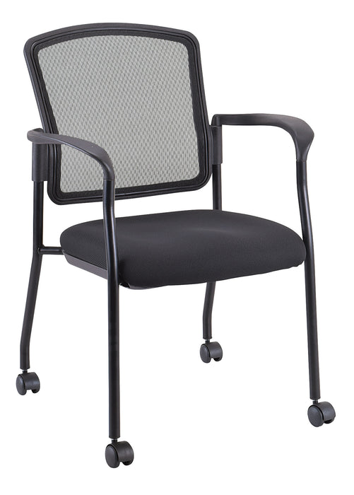"HomeRoots Office 25.5"" x 23.5"" x 35.5"" Black Mesh Fabric Guest Chair"