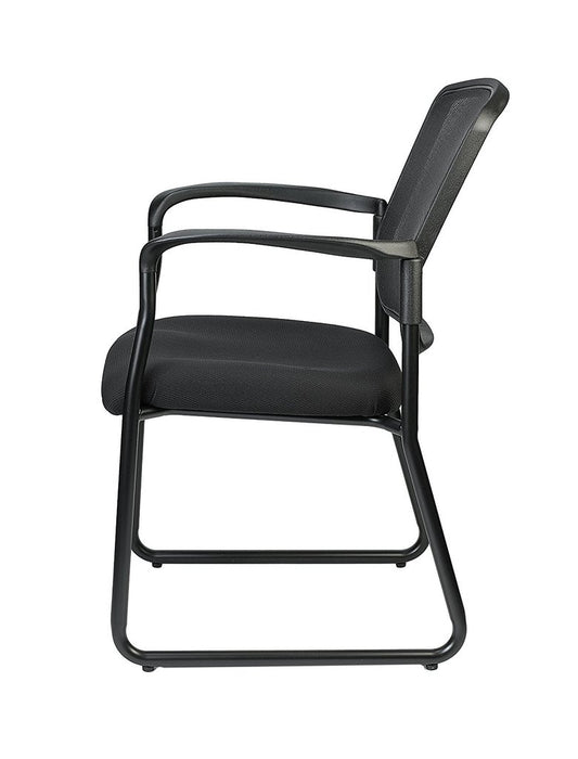 "HomeRoots Office 25.5"" x 23.5"" x 35.5""Black Mesh Fabric Guest Chair"