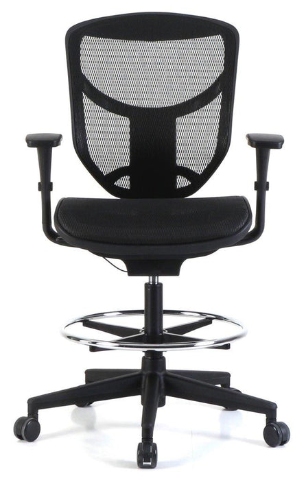 "HomeRoots Office 27.2"" x 25.2"" x 41.7"" Black Mesh Extended Height Stool"