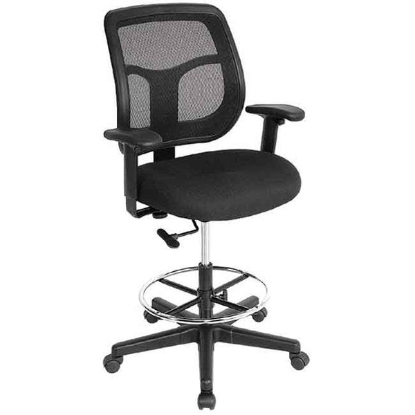 "HomeRoots Office 26"" x 24.8"" x 38"" Black Mesh Fabric Drafting Stool"