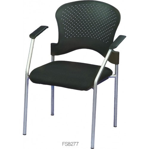 "HomeRoots Office 25"" x 21"" x 33.75"" Grey Frame Plastic  Fabric Guest Chair"