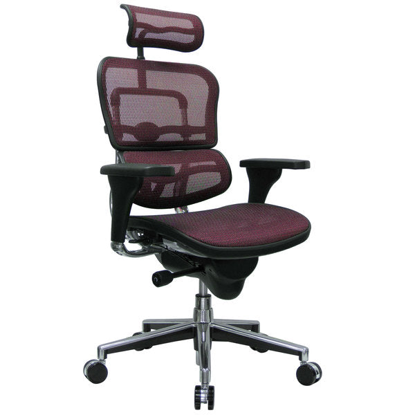 "HomeRoots Office 26.5"" x 29"" x 46""  Plum Red Mesh Chair"