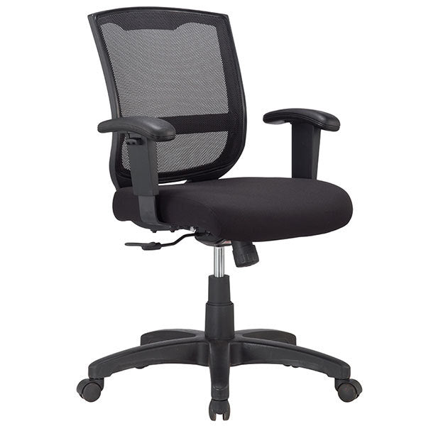 "HomeRoots Office 25"" x 21.45"" x 36"" Black Mesh / Fabric Chair"