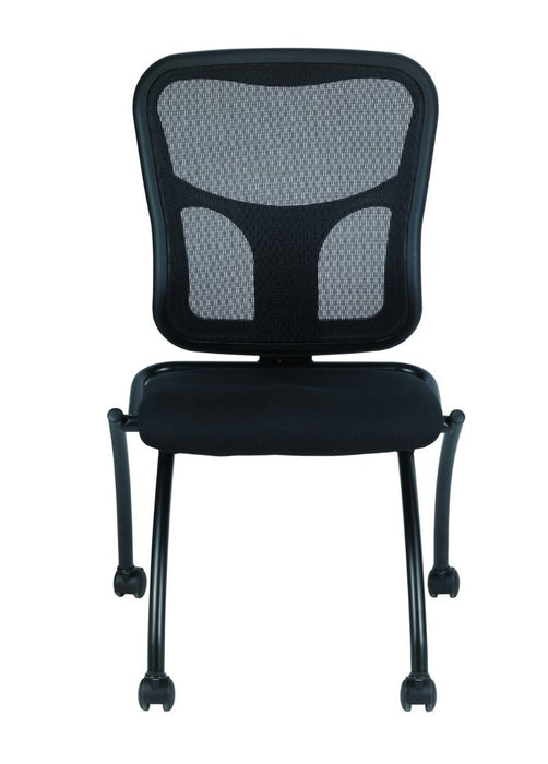 "HomeRoots Office 20.5"" x 24.5"" x 37.5"" Black Mesh / Fabric Guest Chair"