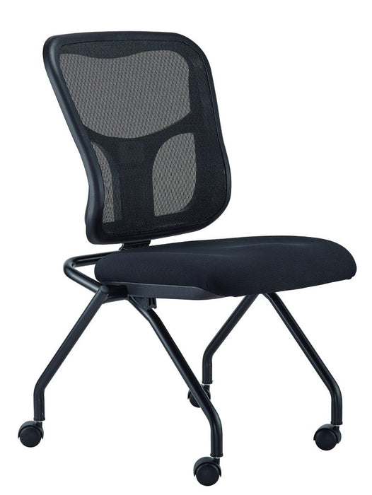 "HomeRoots Office 24"" x 24.5"" x 37.5"" 5807 Black  Mesh / Fabric Guest Chair"