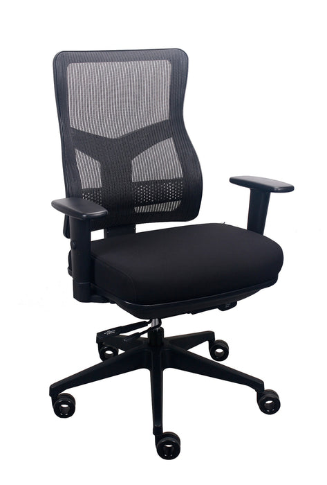 "HomeRoots Office 26.5"" x 23"" x 36.69"" Black Mesh / Fabric Chair"