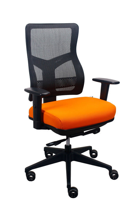 "HomeRoots Office 26.5"" x 23"" x 36.69"" Orange Mesh / Fabric Chair"