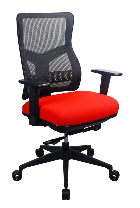 "HomeRoots Office 26.5"" x 23"" x 36.69"" Red Mesh / Fabric Chair"